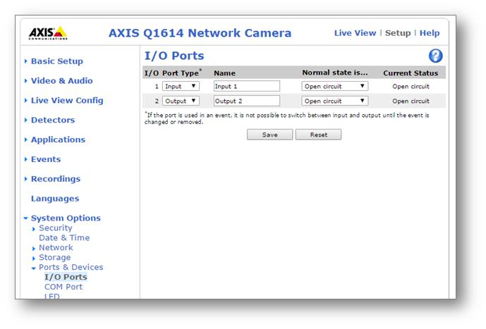 Axis web interface, I/O Port Type