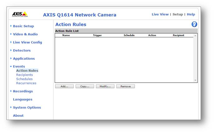 Axis camera web interface, Action Rules